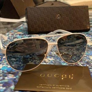•Gucci white sunglasses•